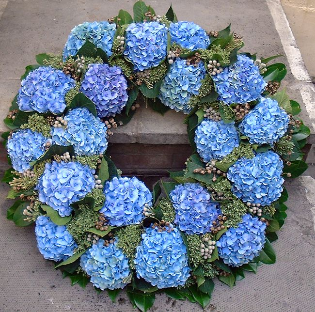 Funeral Wreaths | hydrangea wreath a beautiful large and bold wreath made with these ...