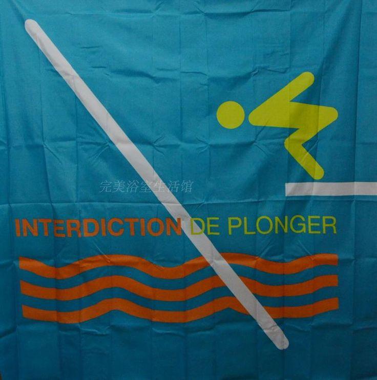 180*200 cm INTERDICTION DE PLONGER polyester high-definition printing waterproof mildew shower curtain #Affiliate