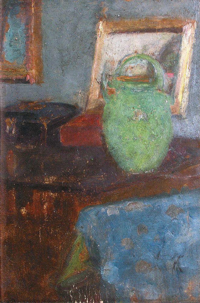 """Olga Boznańska """"Martwa natura z zielonym dzbankiem"""", ok. 1900, olej na tekturze, 34 x 25,5 cm, własność prywatna"""