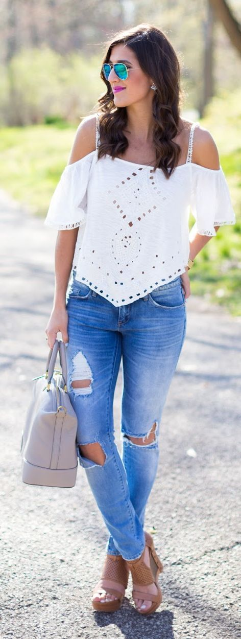 White Cut-out Top with Skinny Jeans - Summer Stree...