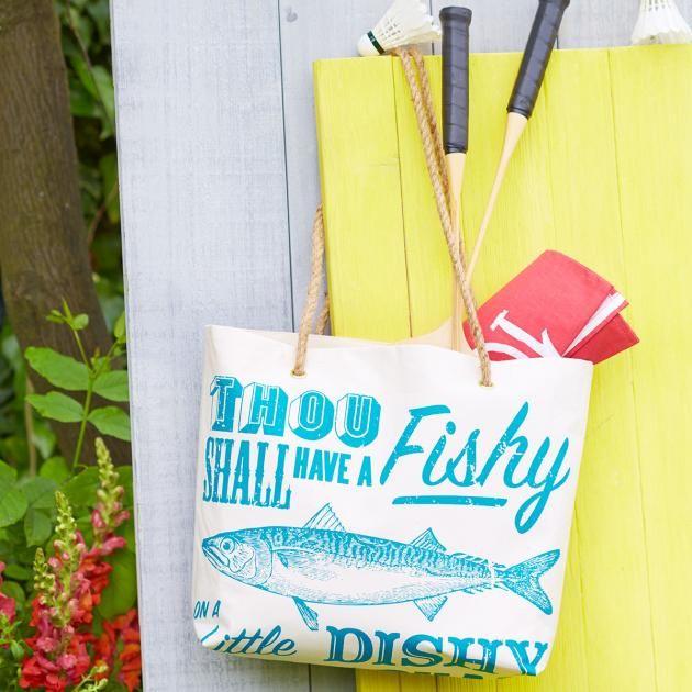 Sea Shanty tea towel transformed into a fantastic, rope-handled bag!