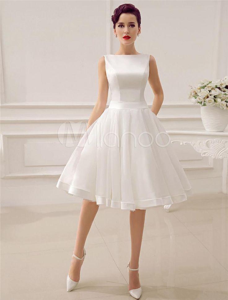 2015 Short Wedding Dresses Vintage Bateau Neckline Deep V Back Little Bridal Dre…