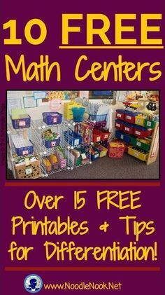 These FREE Math Centers are perfect for K-5, Special Education, and Work Centers for students with Autism- 15 Printables and tips for differentiation!