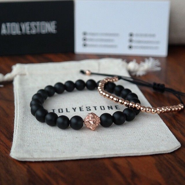 Black Onyx Beads and Rose Gold Lions Head Bracelet, by Atolyestone. Mens Spring Summer Fashion.