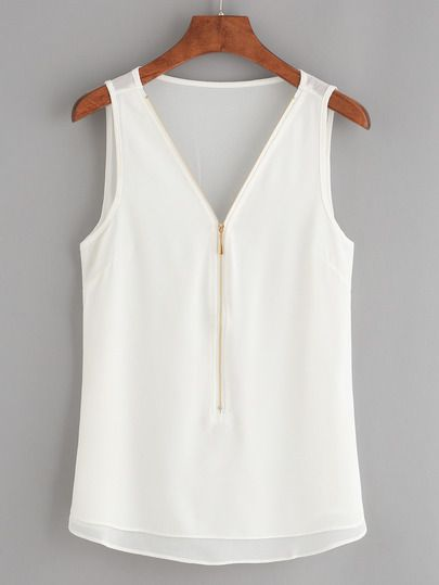 White Zip Front Chiffon Tank Top