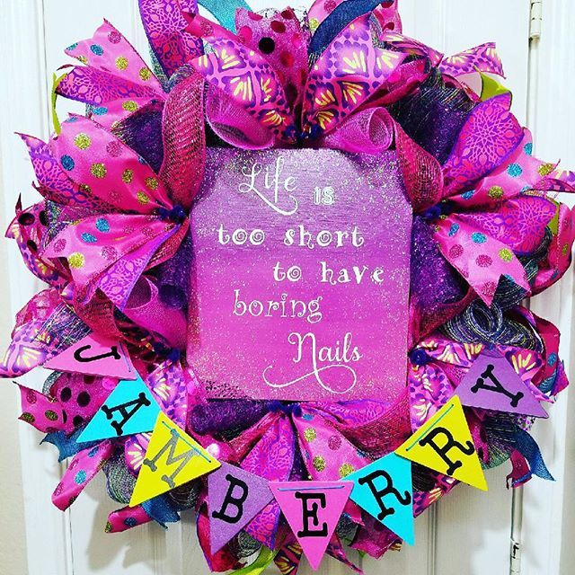 I am so excited at how awesome this wreath turned out! #colorful #awesome #wreath #doordecor #pink #jamberry #bizadventures #glitter #lifeistooshorttohaveboringnails #expressyourself #fingerbling #getpaidtohaveprettynails #wreathlove #excited #frontdoordecor