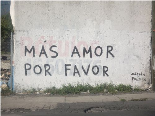 """""""Más amor, por favor"""", it's a message that Ygor wrote on the streets, it was born in 2009. The idea was to catch people's attention about what they should care the most: love.  It's a polite request, an appeal in the middle of all the aggression, speed and indifference of a big metropolis. Trying to light a lamp by painting a handwritten basic phrase into the urban jungle, at least to make people smile when reading it, and transmit the message."""