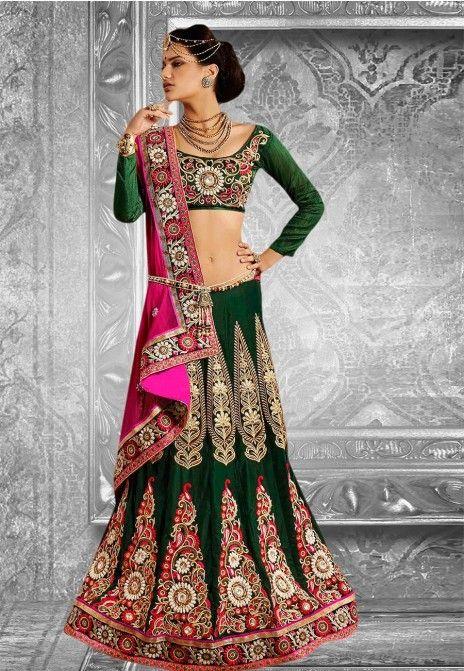 Green & Pink Embroidered Net & Velvet Party Wear Lehenga Saree