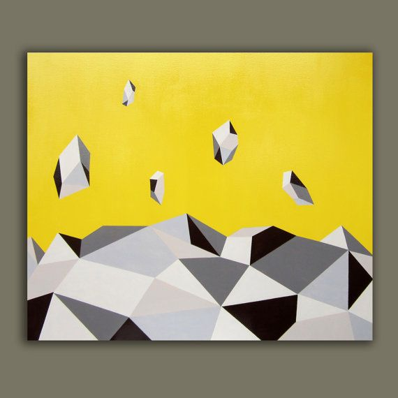 Yellow ABSTRACT PAINTING GEOMETRIC Yellow Painting by magicromia, €595.00