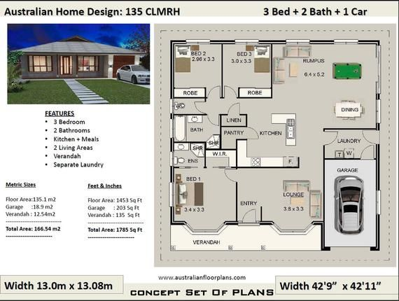3 Bedroom Plans 166m2 1785 Sq Ft 3 Bedroom House Plans Etsy House Plans Australia Cottage House Plans Affordable House Plans