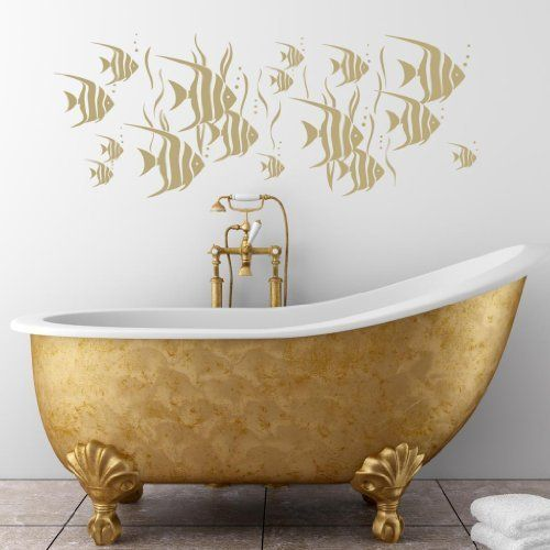 Angel Fish Wide Panel Wall Sticker - Art Vinyl Stickers, Bathroom, Bedroom, Living Room, Easy to Apply, Free Applicator, Easy Peel - (PLEASE CHOOSE YOUR SIZE & COLOUR USING DROP DOWN MENU) - by Rubybloom Designs by Rubybloom Designs, http://www.amazon.co.uk/dp/B007KNYB3M/ref=cm_sw_r_pi_dp_bMxCsb1MP0RV2