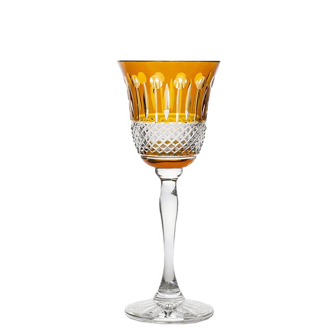 Extraordinary set of two hand cut, 24% lead crystal wine glasses. Accented with a warm amber gold hue this is the ideal vessel for the luxurious wine experience.