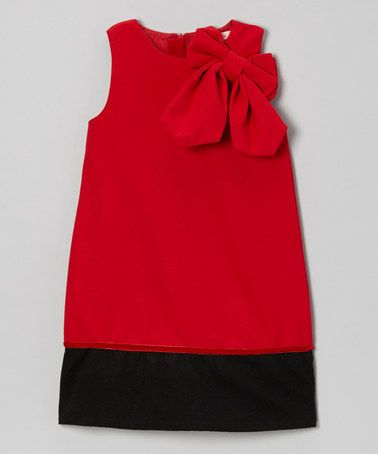 Take a look at this Red Bow Shoulder A-Line Dress - Toddler & Girls by Paulinie on #zulily today!