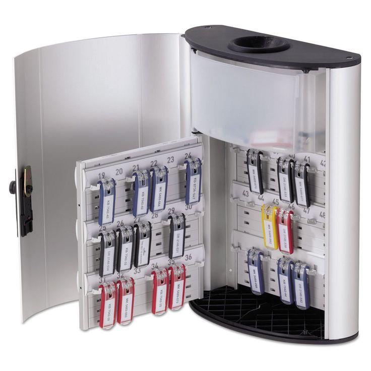 Durable Key Box Plus 54-Key Brushed Aluminum Silver 11 3/4 x 4 5/8 x 15 1/2 (Silver)