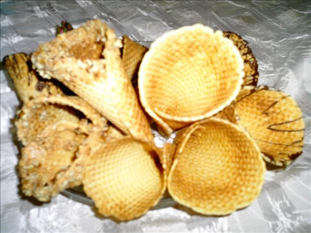 We thought homemade waffle cups would be fun for the frozen yogurt. I'll practice this weekend.