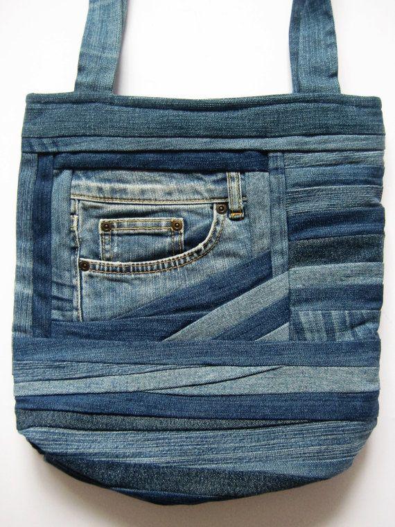 Denim Shoulder Bag Gift Blue Bag Denim by DzintrasPatchworkArt