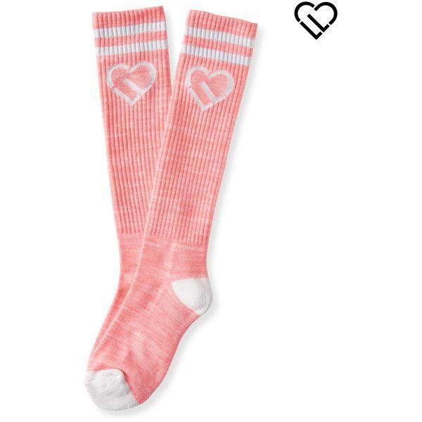 Aeropostale LLD Stripe Icon Knee-High Socks ($8) ❤ liked on Polyvore featuring intimates, hosiery, socks, coral flame neon, neon knee socks, thick knee high socks, aéropostale, knee socks и striped socks