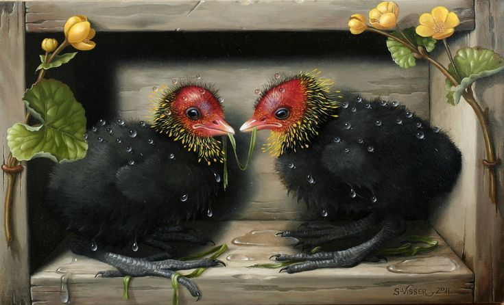 'Spa-Roodhoentjes' painting with birds by Suzan Visser