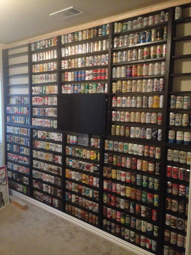 Here is my beer can wall in my office.