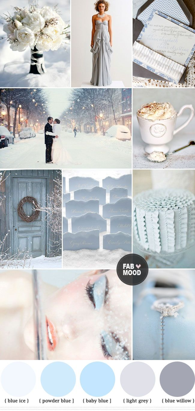 Trouwen in de winter. #winterbruiloft Winter wedding color palette, Blue Grey Winter Wedding Colors