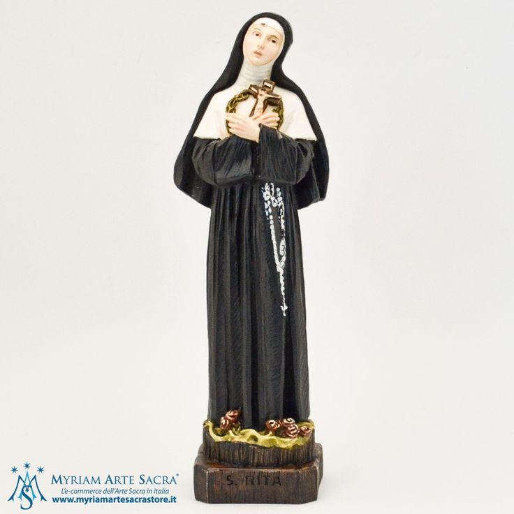 Statua Santa Rita realizzata in resina. Dipinta a mano, con cura in ogni dettaglio. Made in Italy. Scatolata.  H 27 CM