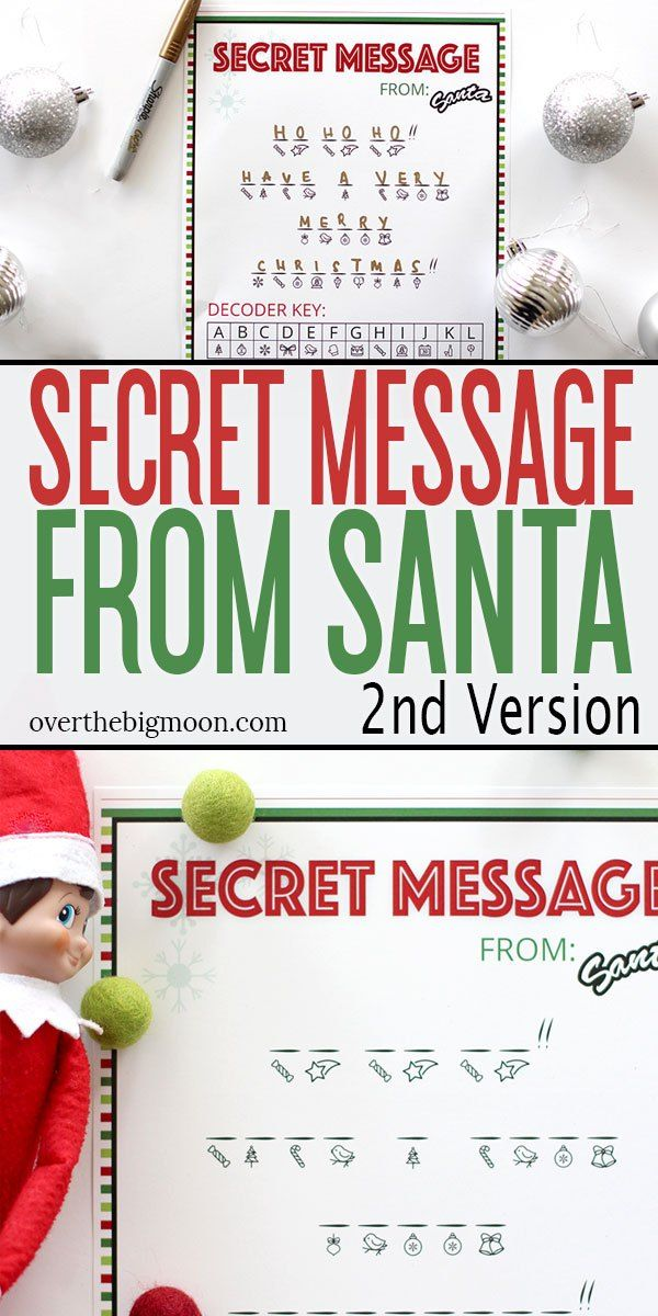 SECRET MESSAGE FROM SANTA PRINTABLE Message from santa