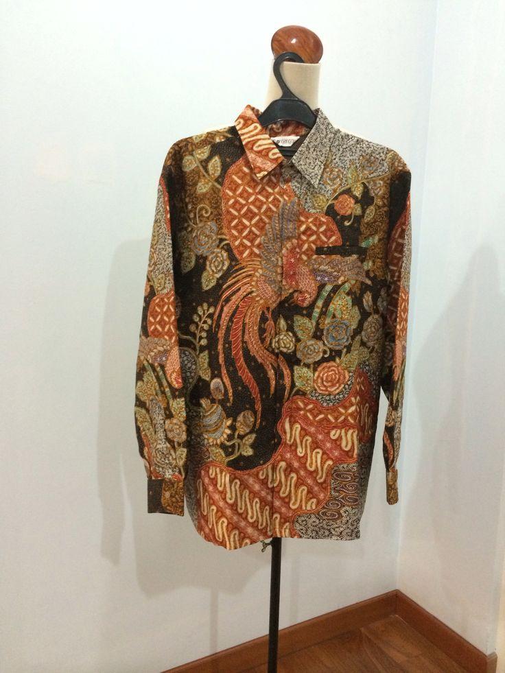 Men's shirt made from batik tulis Cirebon on silk baron weave material. Shirt is made by Dongengan (Facebook: https://m.facebook.com/dongengan)