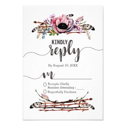 #Boho Chic Blush Pink Floral Wedding Reply RSVP Card - #weddinginvitations #wedding #invitations #party #card #cards #invitation #watercolor