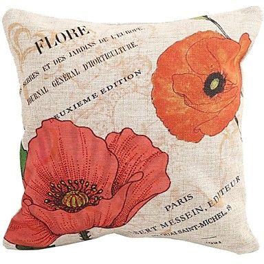 "Createforlife® 18""x 18"" Square Vivid Red Flower Blossoms Cotton/Linen Decorative Pillow  – USD $ 14.99"