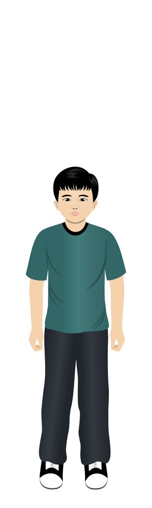 Asian boy customizable eLearning avatar for Techsmith Camtasia, Adobe Captivate and Articulate Storyline.