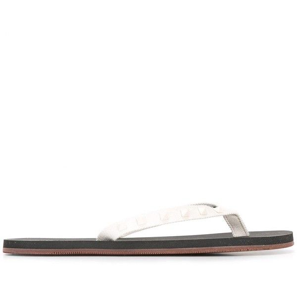 Valentino Valentino Garavani Rockstud Flip Flops (14,650 INR) ❤ liked on Polyvore featuring men's fashion, men's shoes, men's sandals, men's flip flops, valentino mens shoes, mens beach shoes, mens beach sandals and mens flat shoes