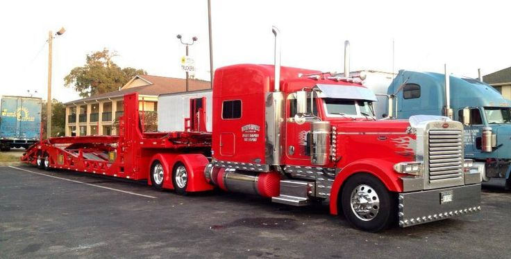 Red Peterbilt car hauler Big rigs Pinterest Cars