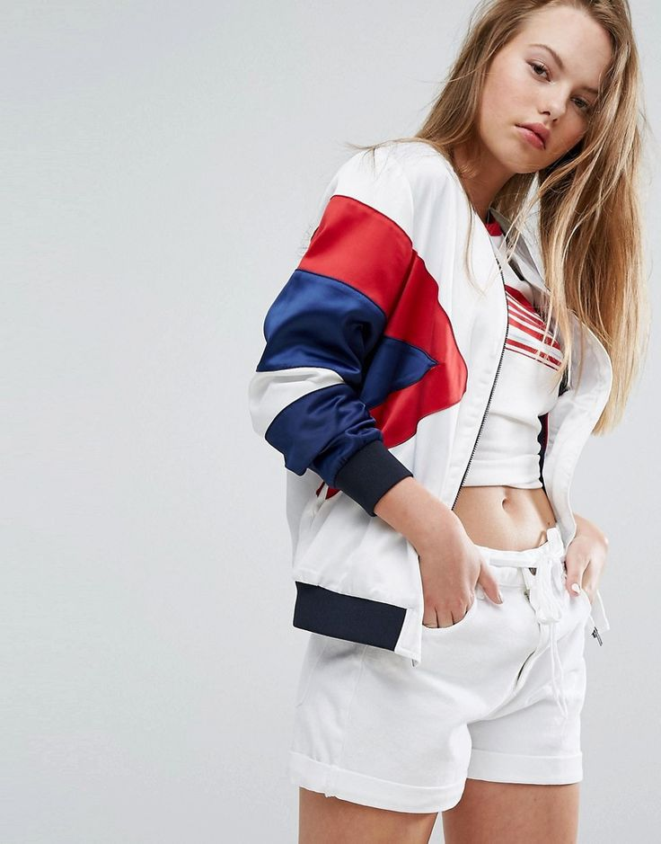 Buy it now. Tommy Hilfiger Denim Colourblock Bomber Jacket - Multi. Bomber jacket by Tommy Hilfiger, Lightweight woven fabric, Added stretch for comfort, Colourblock design, Baseball collar, Zip fastening, Functional pockets, Ribbed trims, Regular fit - true to size, Machine wash, 97% Polyester, 3% Elastane, Our model wears a UK S/EU S/US XS and is 171cm/5'7.5 tall. Tommy Hilfiger is a global brand with a classic/cool American heritage. Think timeless, preppy Americana, updated, re-imagined…