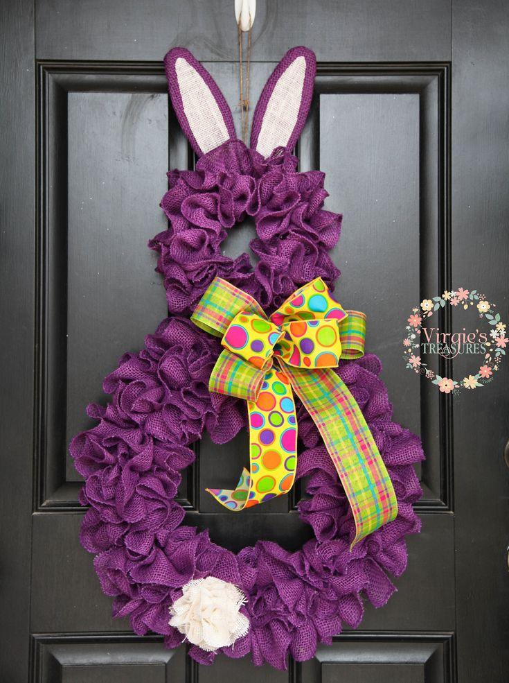 Purple Bunny Wreath, Ruffle Burlap Bunny Wreath, Spring Burlap Wreath, Easter Burlap Wreath, Spring Wreath, Easter Wreath, Bunny Wreath by VirgiesTreasures on Etsy