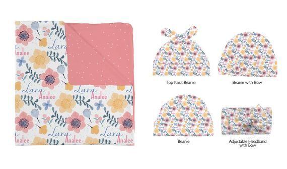 Kişiselleştirilmiş Kundak Battaniyesi ve Şapka Seti – Lara'nın Peri Çiçekleri – Bebek İsmi Battaniyesi / Şapka / Baş Bandı