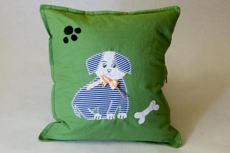 Happy Pillow- Happy Puppy- handmade pillow  35x35 cm  Order at: happy_pillows@yahoo.com
