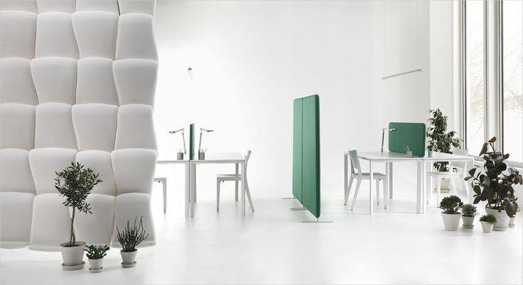 Airwave ceiling mounted acoustic partition and room divider. Loft monteret akustisk skillevæg og rumdeler.