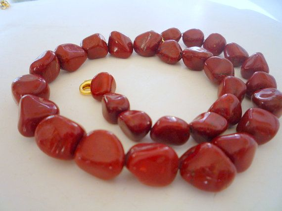 Red Jasper semiprecious gemstones necklace.Gemstone by Iridonousa