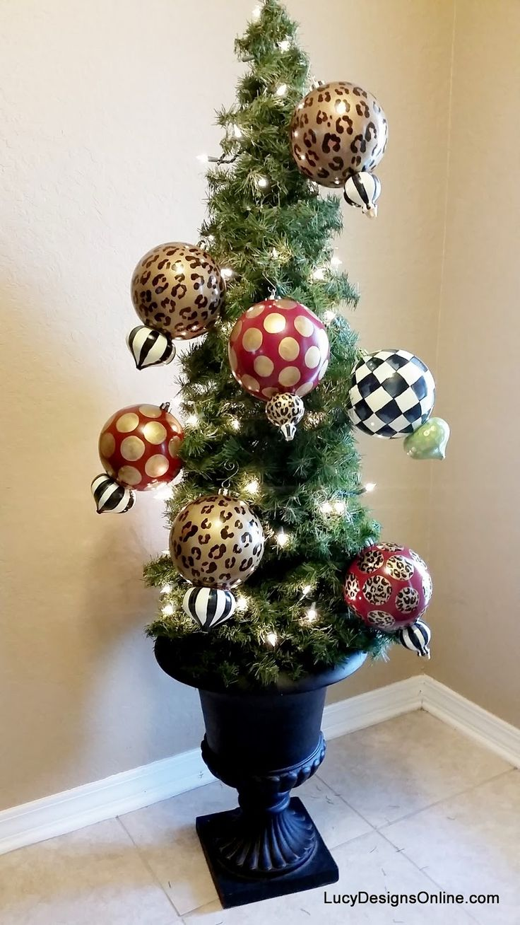 Large Whimsical Hand Painted Christmas Ornaments Black And White Checks,  Stripes, Animal Print And