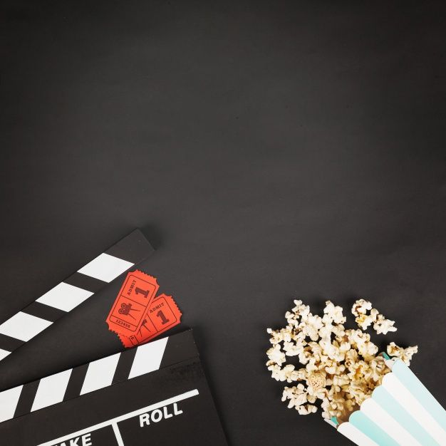 Download Crop Clapperboard Near Tickets And Popcorn For Free Movie Party Invitations Film Background Movie Themed Party