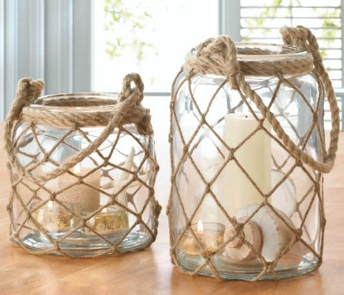 Rope Net Candle Lanterns: http://www.completely-coastal.com/2016/04/nautical-coastal-candle-lanterns-wood.html Glass Jar Lanterns with Netting for a Nod to Nautical. You can Hang these Lanterns too!