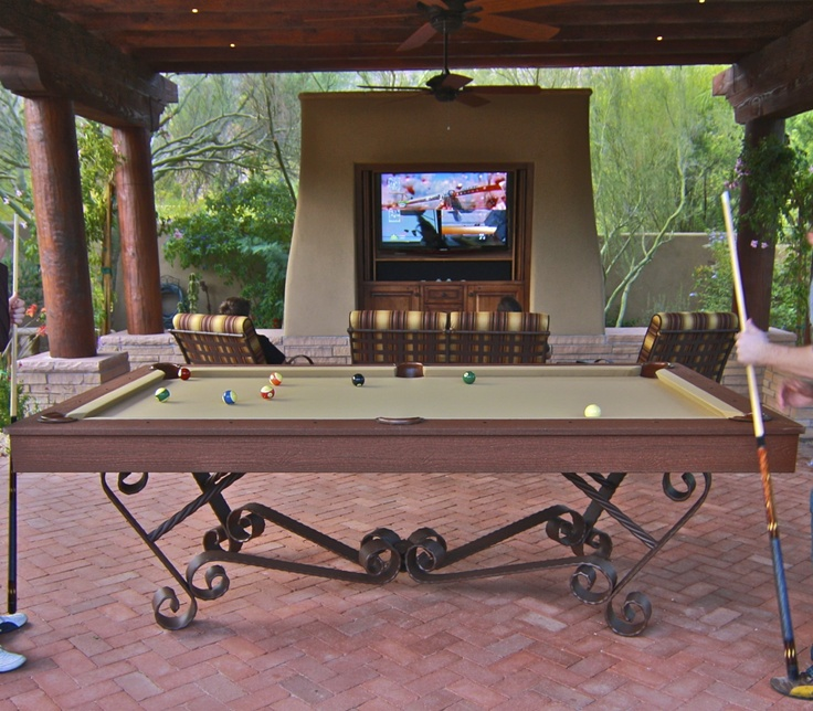 Pool Table Outdoors How Awesome, But Adjust Shots For Windage.