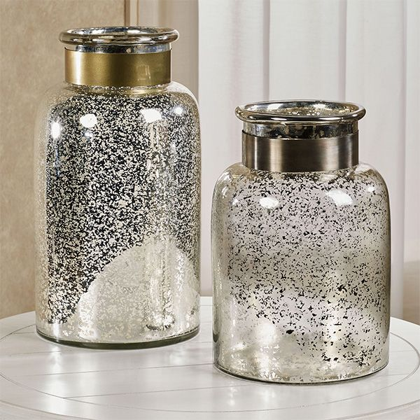 Spouted Antique Silver Hurricane Decorative Glass Jar Decorative Glass Jars Glass Jars Glass Decor