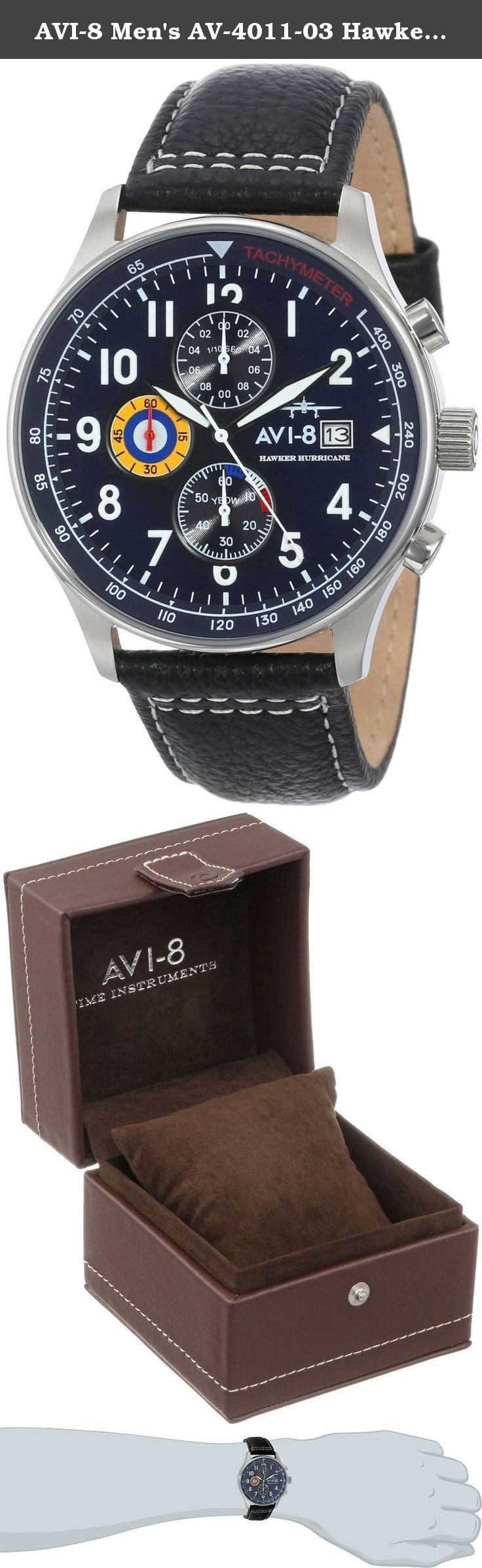 AVI-8 Men's AV-4011-03 Hawker Hurricane Analog Japanese-Quartz Black Watch. Just like the incredible force of the Air Force fighter plane, the rustic AV-4011-0A Hawker Hurricane Watch by AVI-8 takes charge of your schedule. This stylish watch features a classic Japanese quartz analog movement and date indicator inside a mineral crystal face material, which is attached to a durable leather strap. Stainless steel provides a sleek and tough housing material that helps make this watch...
