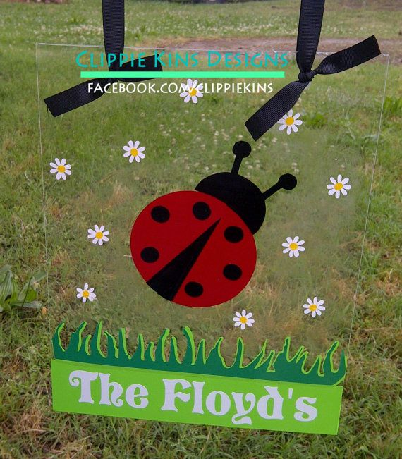 Clear Personalized Ladybug Garden Flag By Clippiekins On