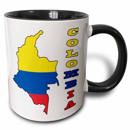 3dRose Colombian flag in the map and letters of Colombia, Two Tone Black Mug, 11oz