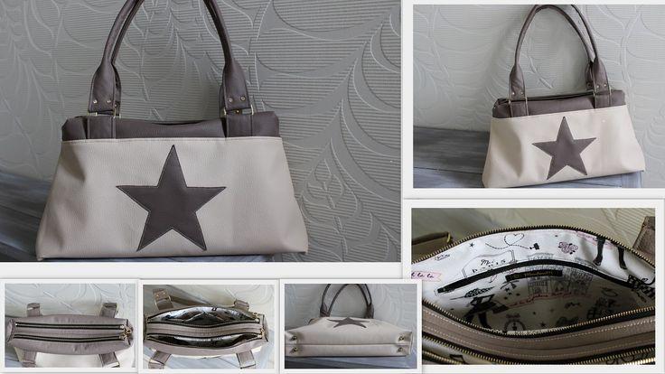 Sac City Zip-Zip réalisé en simili cuir par MartineM - Patron couture Sacôtin