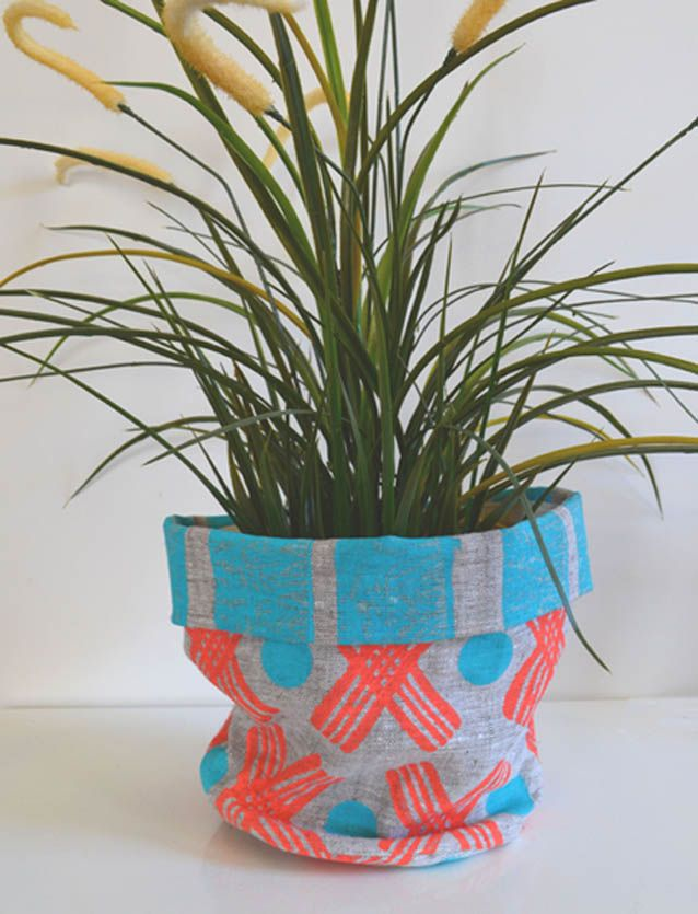 My Knots & Crosses Linen plant or storage basket, www.shakiraaz.com.au