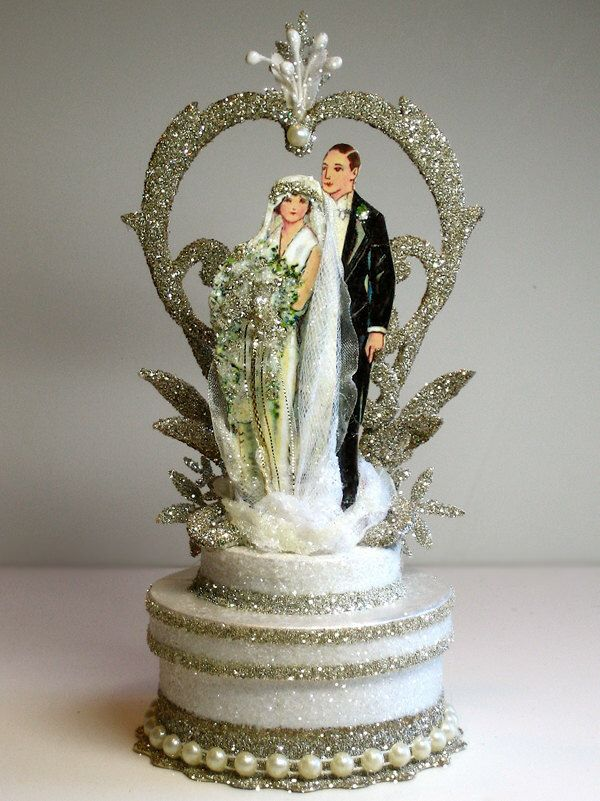1920s Garden Deco Wedding Cake Topper by PatriciaMinishDesign on Etsy https://www.etsy.com/listing/89460056/1920s-garden-deco-wedding-cake-topper