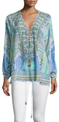 Camilla Long-Sleeve Lace-Up Shirt, Sultans Gate